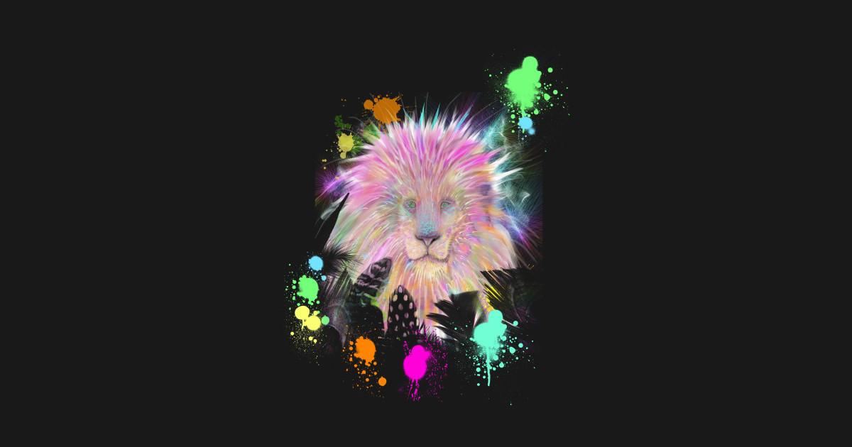 Colorful Rainbow Tribal Lion Artwork Rainbow Lion Head