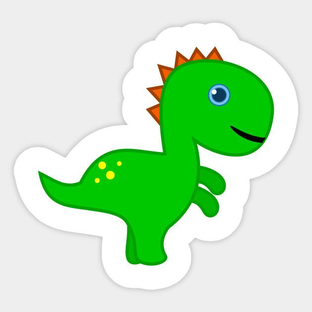 Tiny And Funny Cute Green Dinosaur For Kids Dinosaur Sticker Teepublic