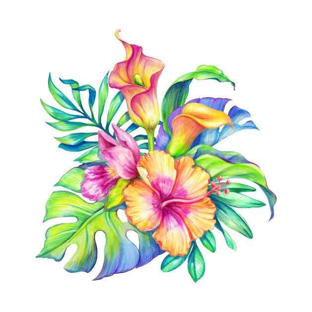 Colorful tropical Flowers Bouquet Design