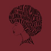afro hair word art design - black