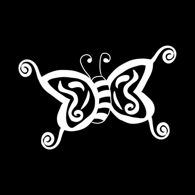 white tribal butterfly