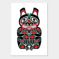 Red and Green Haida Spirit Bear - Art - Wall Art | TeePublic