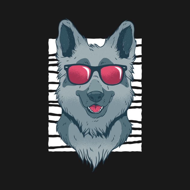 cool wolf with sunglasses
