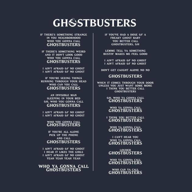 Ghostbusters Lyrics  80s  TShirt  TeePublic