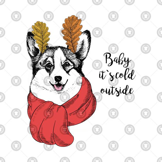 welsh corgi red scarf