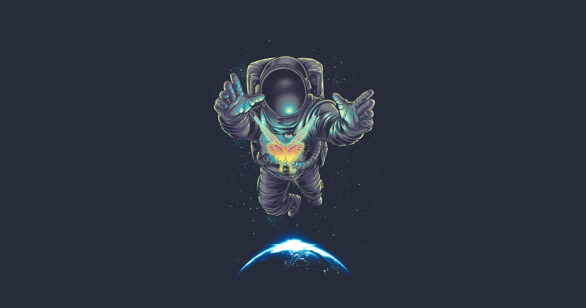 Neon Sign Iphone Wallpaper Butterflight Astronaut T Shirt Teepublic