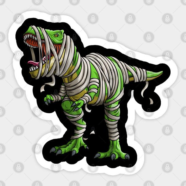 Dinosaur T Rex Mummy Funny Halloween Dino Kids Dino Sticker Teepublic