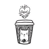 Doodle coffee cat - Hot - T-Shirt | TeePublic