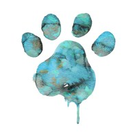 Watercolor Paw - Blue - New Trend - T-Shirt | TeePublic