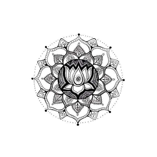 lotus mandala black white