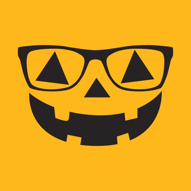 nerdy pumpkin face with