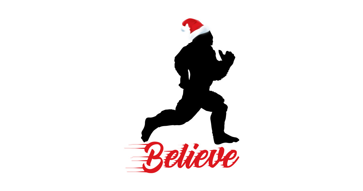 Believe in Bigfoot wearing santa hat funny t-shirt