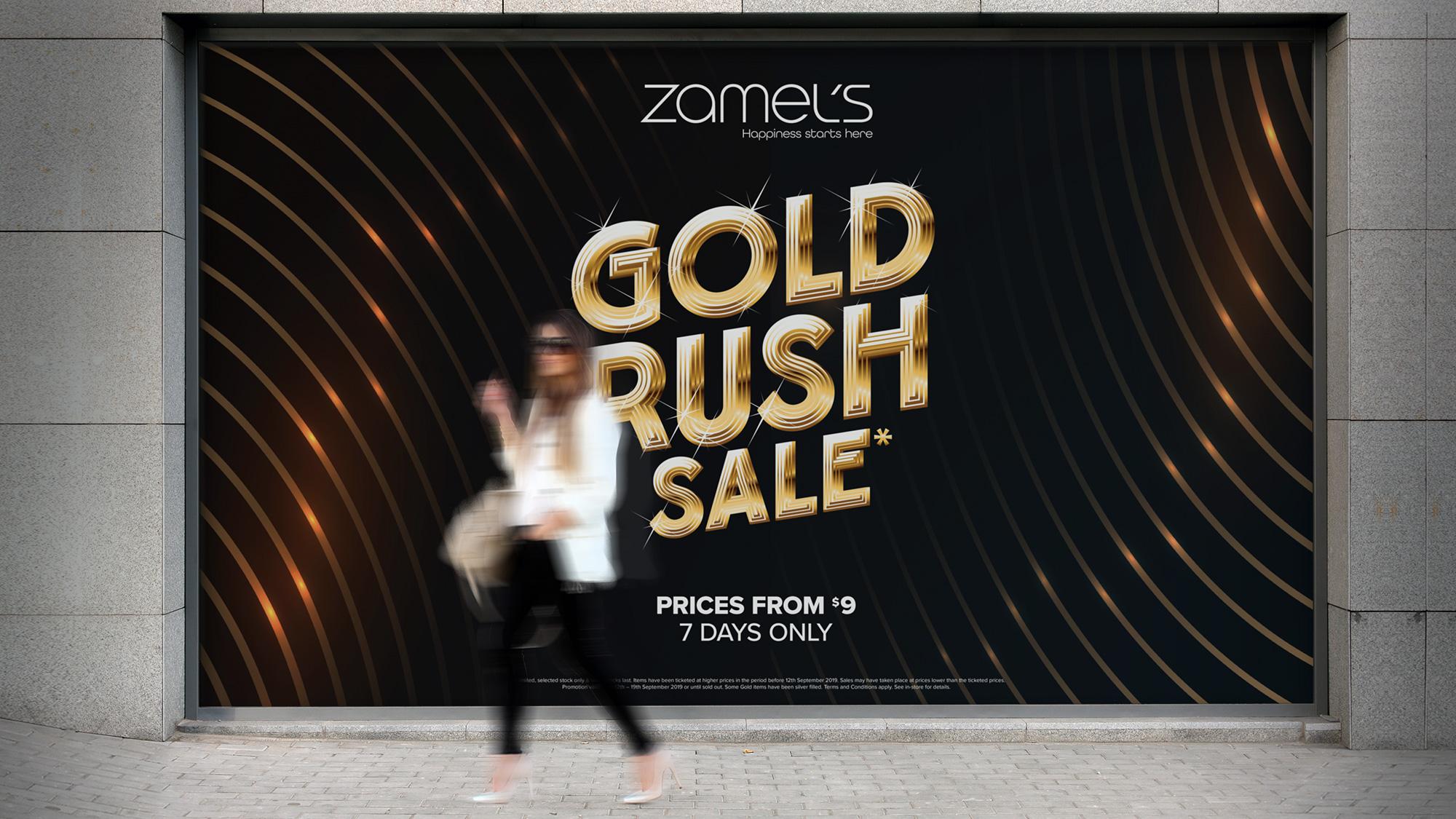 Zamel's Gold Rush Advertising Outdoor Window Decal