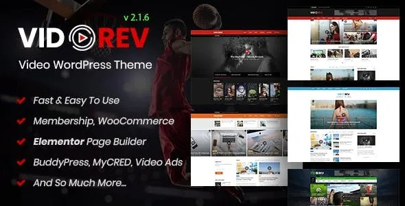 VidoRev 2.9.9.9.7.5 New - Video WordPress Theme