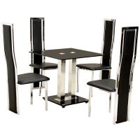 Glass Dining Table Cream Leather Chairs - Dining Tables