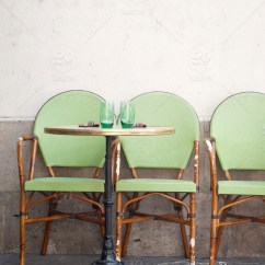 Parisian Cafe Table And Chairs Best For Back Pain At Home Uk Restaurant Green Paris Empty Stock Photo