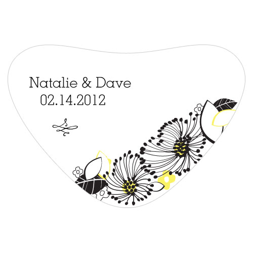 Floral Fusion Heart Container Sticker Lemon Yellow