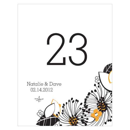 Floral Fusion Table Number Numbers 73-84 Harvest Gold