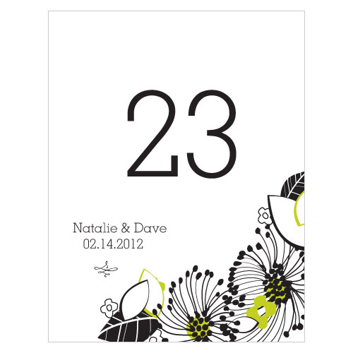 Floral Fusion Table Number Numbers 73-84 Leaf Green