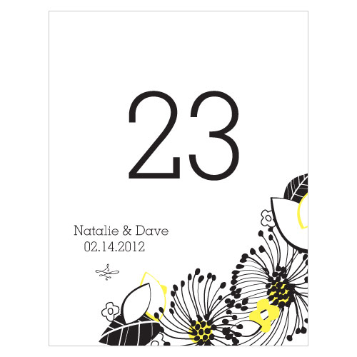 Floral Fusion Table Number Numbers 13-24 Lemon Yellow