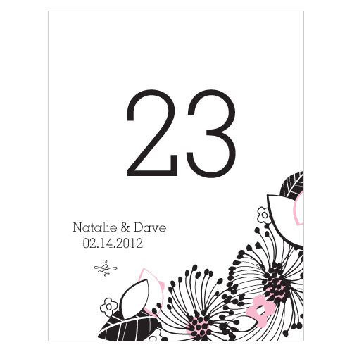 Floral Fusion Table Number Numbers 61-72 Pastel Pink