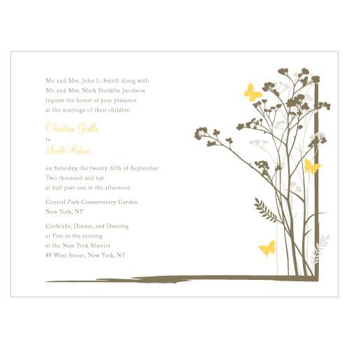 Romantic Butterfly Invitation Lemon Yellow