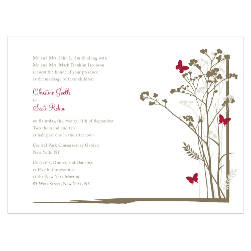 Romantic Butterfly Invitation Ruby
