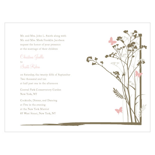 Romantic Butterfly Invitation Vintage Pink
