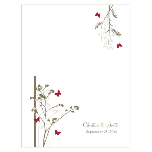 Romantic Butterfly Place Card With Fold Ruby