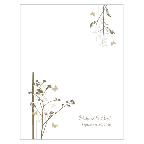 Romantic Butterfly Place Card With Fold Sandy Green