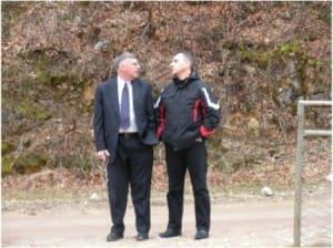 David Schwendiman (left) and an investigator