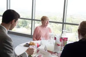 Pamela T. Greenwood, an alumna of the University of Utah S.J. Quinney College of Law and a former presiding judge of the Utah Court of Appeals , discusses work experiences with law students at a mentorship luncheon on June 8, 2016. Photo by Sarah May