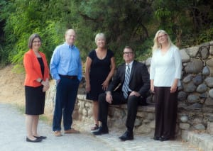 Pictured, left to right, are plaintiff's attorney Karra Porter, Utah Newspaper Project board members Ted McDonough and Patty Henetz, attorney David Richards (University of Utah law school class of 1991) , and board member Joan O'Brien (University of Utah law school class of 2003). Not pictured are board members Harry Fuller and Janet Goldstein.