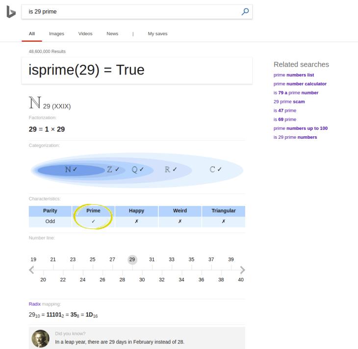is 29 prime Bing
