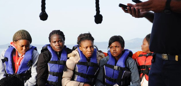 Above Some Nigerian girls rescued in the Mediterranean Sea