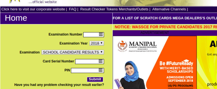 WAECDIRECT 2018 ONLINE RESULT CHECKER.