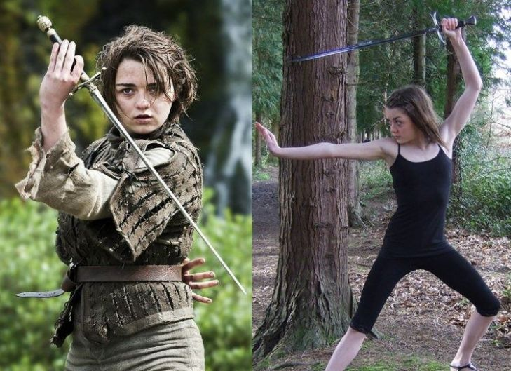 Maisie Williams portrayed Arya as left-handed