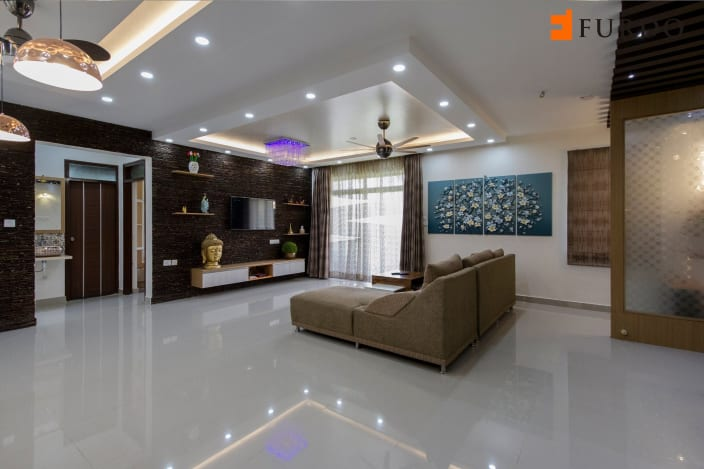 Living Room With Marble Flooring And Modern False Ceiling