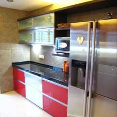 Kitchen Design Budget Utensils Holder Modular Ideas And Photos Urbanclap With Red White Cabinets Black Counter Top