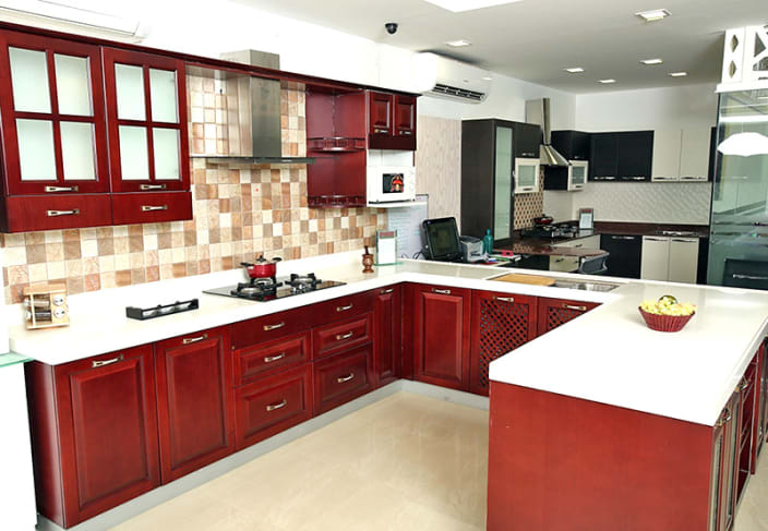 kitchen desing bistro set 1 000 modular design ideas pictures u shaped with false ceiling and maroon cabinets