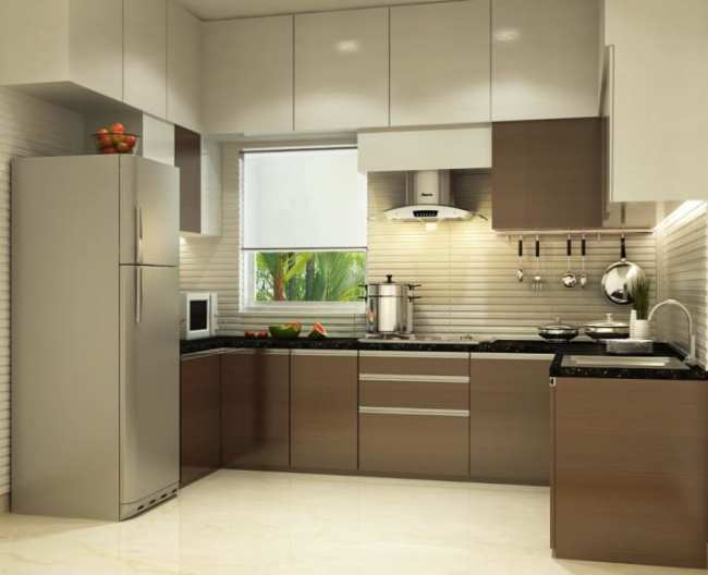 U shaped kitchen with modern cabinets and false ceiling by ...