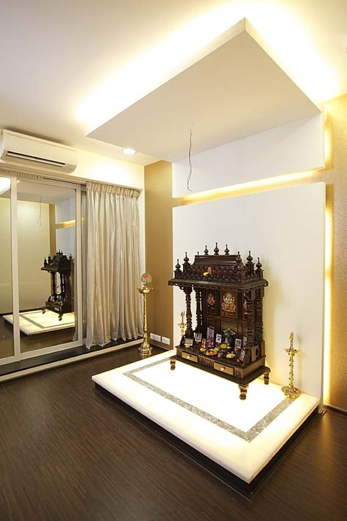 Prayer Room With Wooden Flooring By Milind Kapadia