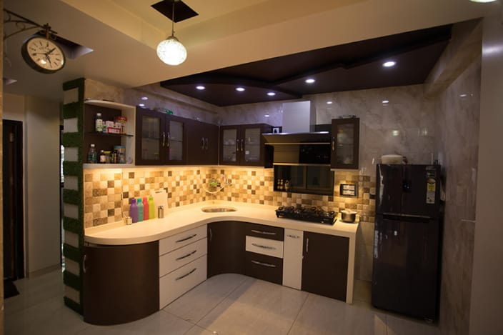 modular kitchen unlacquered brass faucet l shaped ideas contemporary