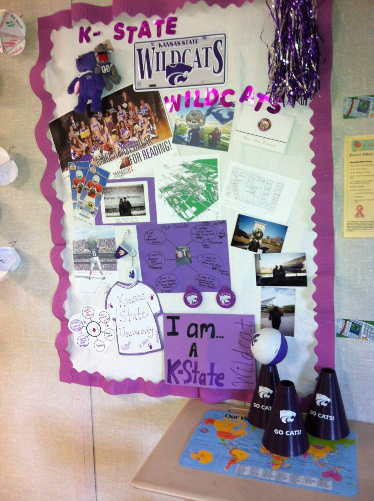 "College photos and artifacts showing students the teacher's ""journey""."