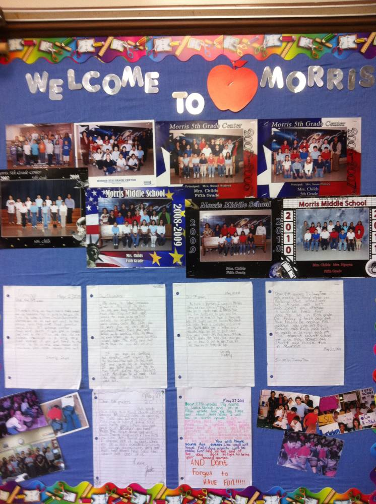 """Welcome"" letters to new students, at the beginning of the school year from former students in my classroom."