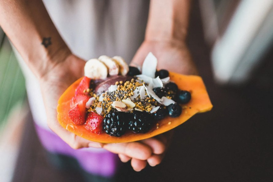 Papaya Smoothie Boat Topped with Fruit