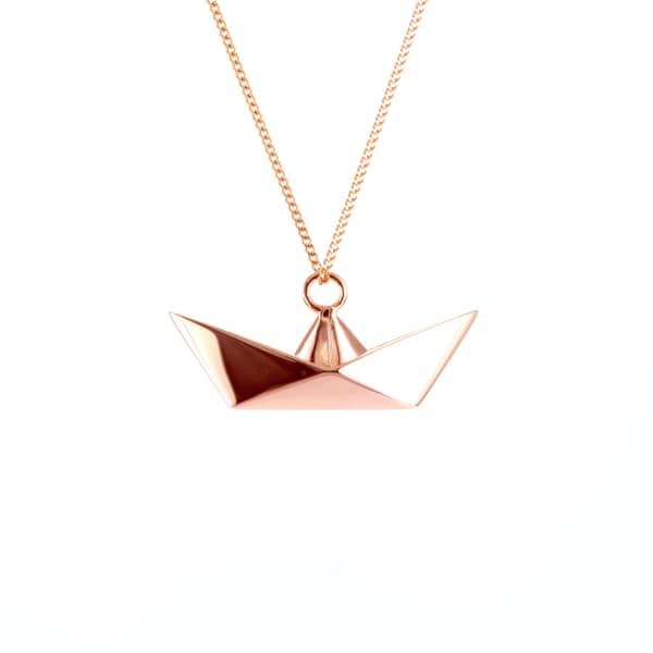 Boat Necklace Rose Gold  Origami Jewellery  Wolf  Badger