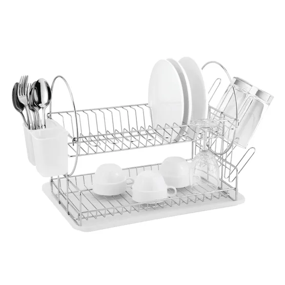 casa two tier chrome plated dish rack