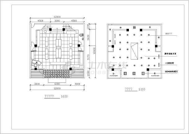 店鋪平面cad施工裝修方案設計圖 - 土木在線