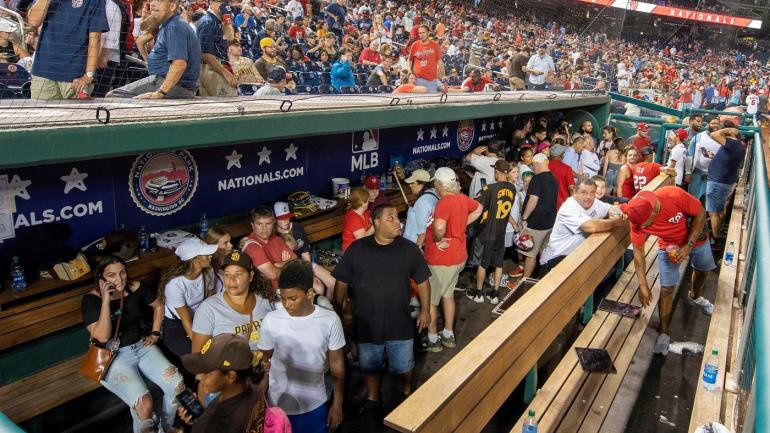VIDEO: Chaotic scene at Nationals game as fans panic when gunfire erupts outside Nationals Park